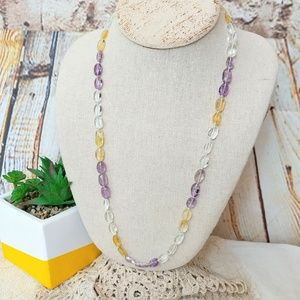 Jewelry - Natural Amethyst, Citrine & Clear Quartz Necklace